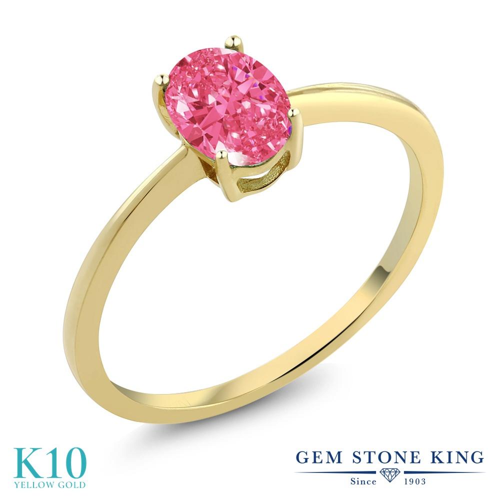 スワロフスキージルコニア (ファンシーピンク) 指輪 レディース リング 10金 イエローゴールド K10 ブランド おしゃれ 一粒 CZ シンプル 細身 ソリティア 婚約指輪 エンゲージリング