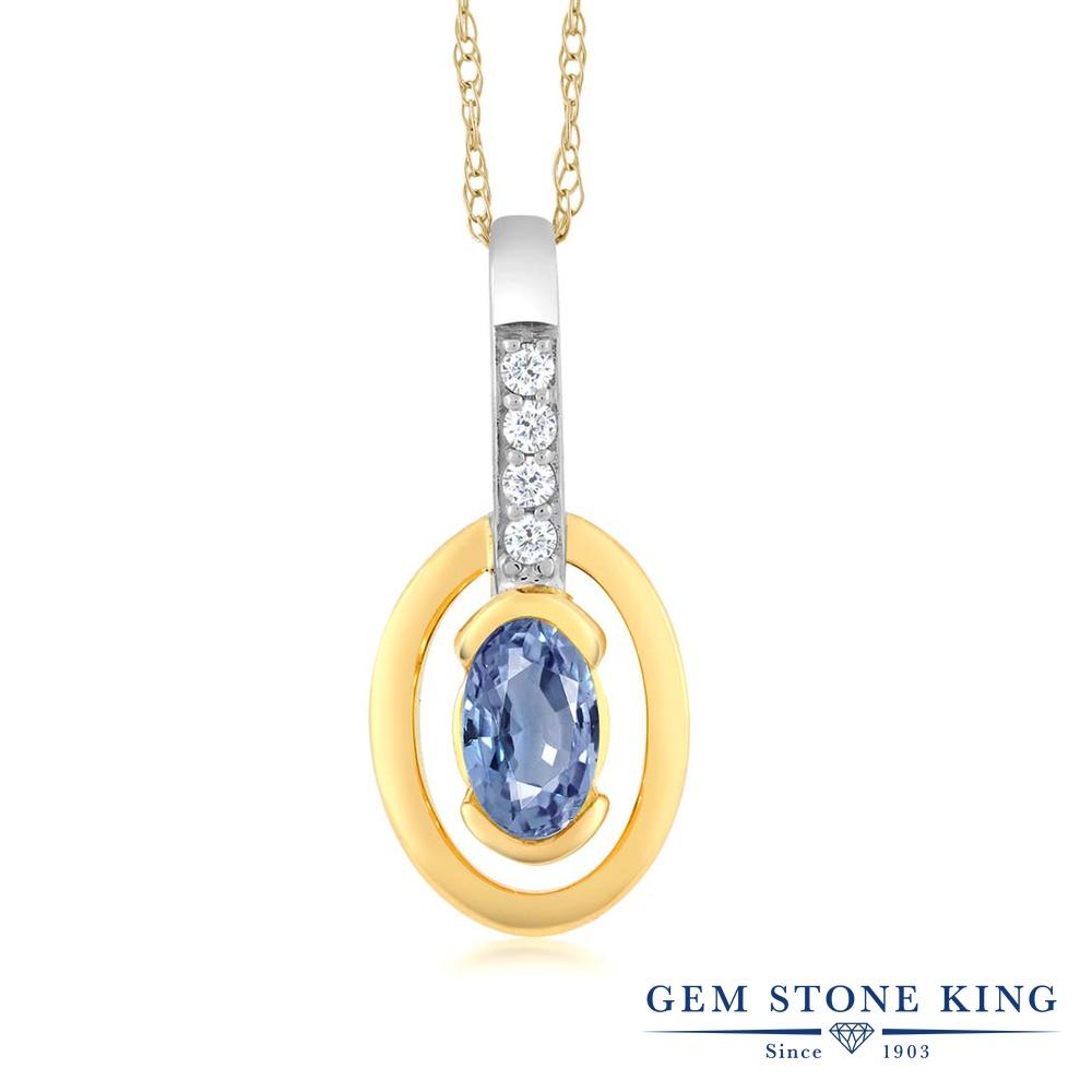 Gem Stone King 0.27カラット 天然 サファイア 天然 ダイヤモンド 10金 Two Toneゴールド(K10) ネックレス ペンダント レディース 小粒 天然石 9月 誕生石 金属アレルギー対応 誕生日プレゼント