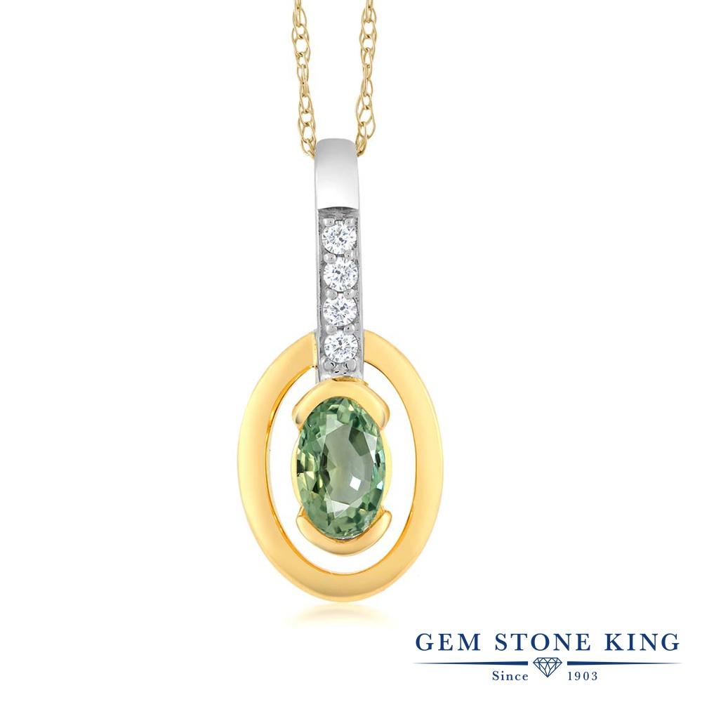 Gem Stone King 0.27カラット 天然 グリーンサファイア 天然 ダイヤモンド 10金 Two Toneゴールド(K10) ネックレス ペンダント レディース 小粒 天然石 9月 誕生石 金属アレルギー対応 誕生日プレゼント