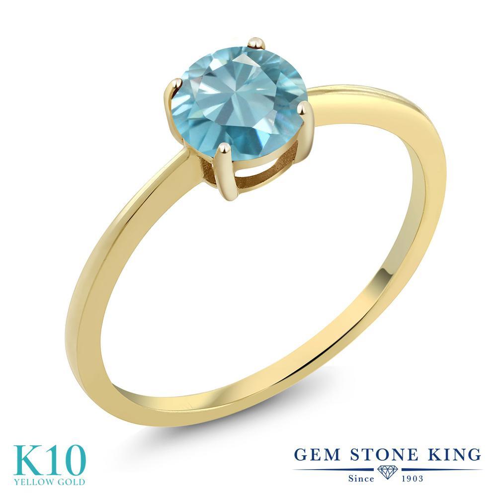 【10%OFF】 Gem Stone King 1.2カラット 天然石 ブルージルコン 指輪 リング レディース 10金 イエローゴールド K10 大粒 一粒 シンプル ソリティア 12月 誕生石 婚約指輪 エンゲージリング