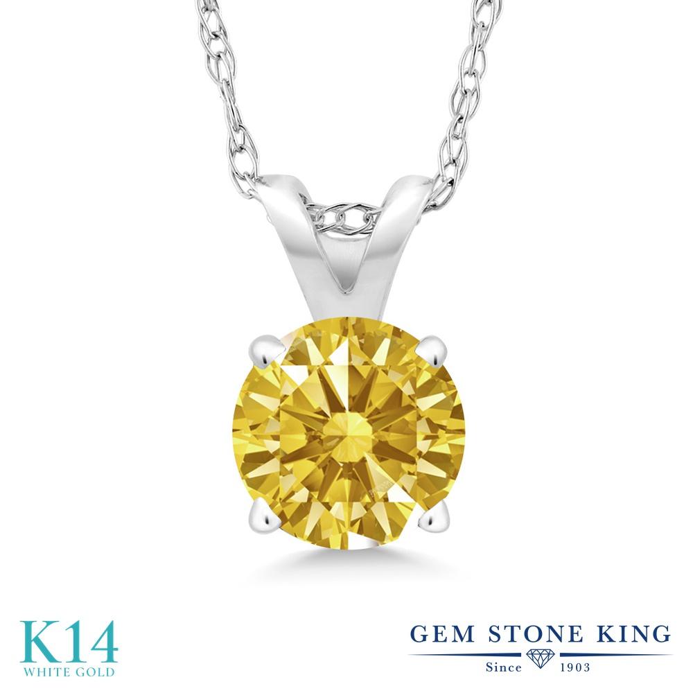 Gem Stone King スワロフスキージルコニア (ゴールデンイエロー) 14金 ホワイトゴールド(K14) ネックレス ペンダント レディース CZ 小粒 一粒 シンプル 金属アレルギー対応 誕生日プレゼント