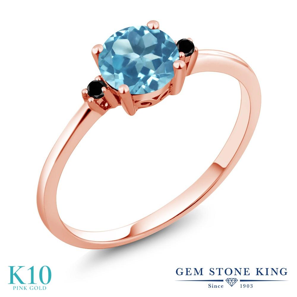 Gem Stone King 0.93カラット 天然 スイスブルートパーズ 天然ブラックダイヤモンド 10金 ピンクゴールド(K10) 指輪 リング レディース 一粒 シンプル ソリティア 天然石 11月 誕生石 金属アレルギー対応 婚約指輪 エンゲージリング