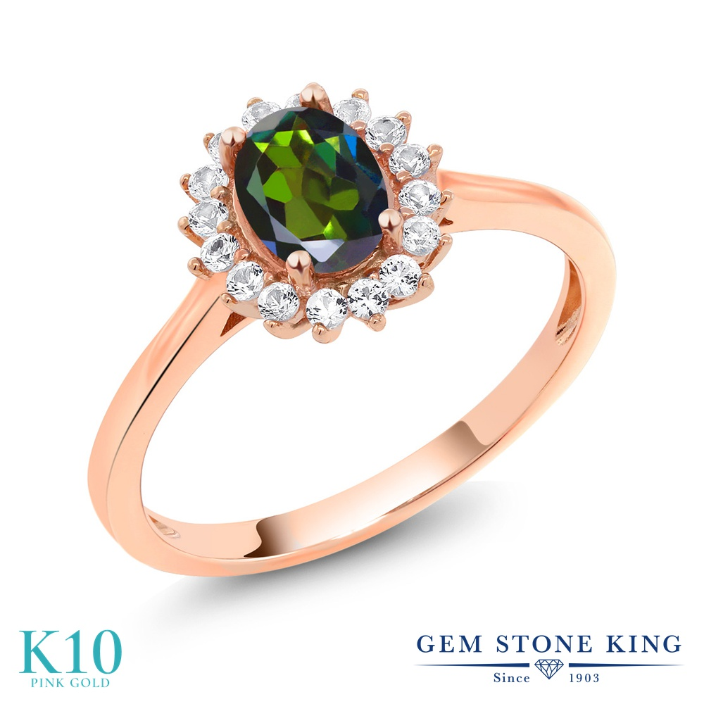 【10%OFF】 Gem Stone King 1.04カラット 天然 ミスティックトパーズ (トルマリングリーン) 合成ホワイトサファイア (ダイヤのような無色透明) 指輪 リング レディース 10金 ピンクゴールド K10 クラスター 天然石 クリスマスプレゼント 女性 彼女 妻 誕生日