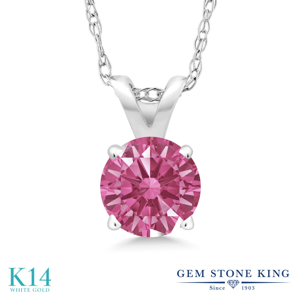 Gem Stone King スワロフスキージルコニア (レッド) 14金 ホワイトゴールド(K14) ネックレス ペンダント レディース CZ 小粒 一粒 シンプル 金属アレルギー対応 誕生日プレゼント