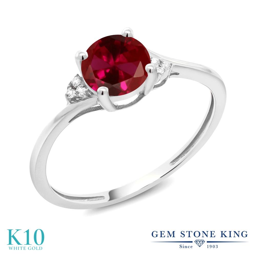 Gem Stone King 1.04カラット 合成ルビー 10金 ホワイトゴールド(K10) 天然ダイヤモンド 指輪 リング