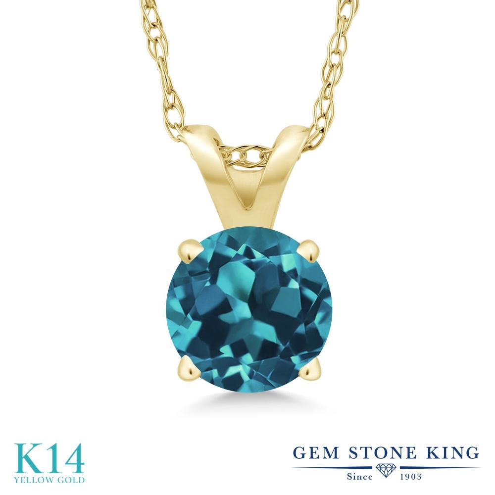 Gem Stone King 0.5カラット 天然 ロンドンブルートパーズ 14金 イエローゴールド(K14) ネックレス ペンダント レディース 小粒 一粒 シンプル 天然石 11月 誕生石 金属アレルギー対応 誕生日プレゼント
