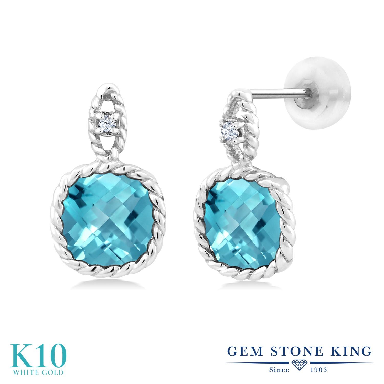 Gem Stone King 5.53カラット 天然 スイスブルートパーズ 合成ホワイトサファイア (ダイヤのような無色透明) 10金 ホワイトゴールド(K10) ピアス レディース 大粒 ぶら下がり 天然石 11月 誕生石 金属アレルギー対応 誕生日プレゼント