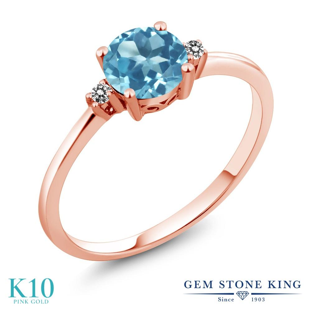 Gem Stone King 0.93カラット 天然 スイスブルートパーズ 天然 ダイヤモンド 10金 ピンクゴールド(K10) 指輪 リング レディース 一粒 シンプル ソリティア 天然石 11月 誕生石 金属アレルギー対応 婚約指輪 エンゲージリング