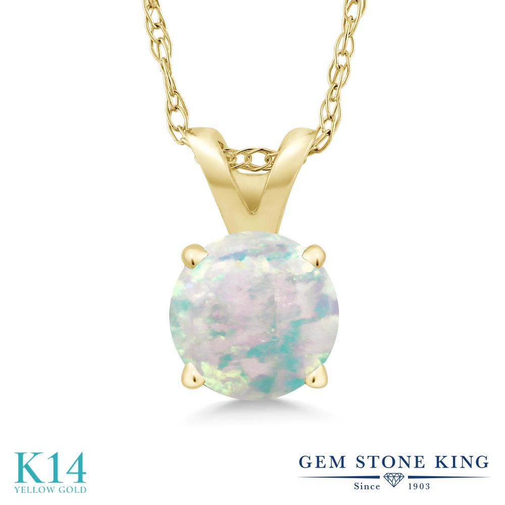 Gem Stone King 0.3カラット シミュレイテッド ホワイトオパール 14金 イエローゴールド(K14) ネックレス ペンダント レディース 小粒 一粒 シンプル 10月 誕生石 金属アレルギー対応 誕生日プレゼント