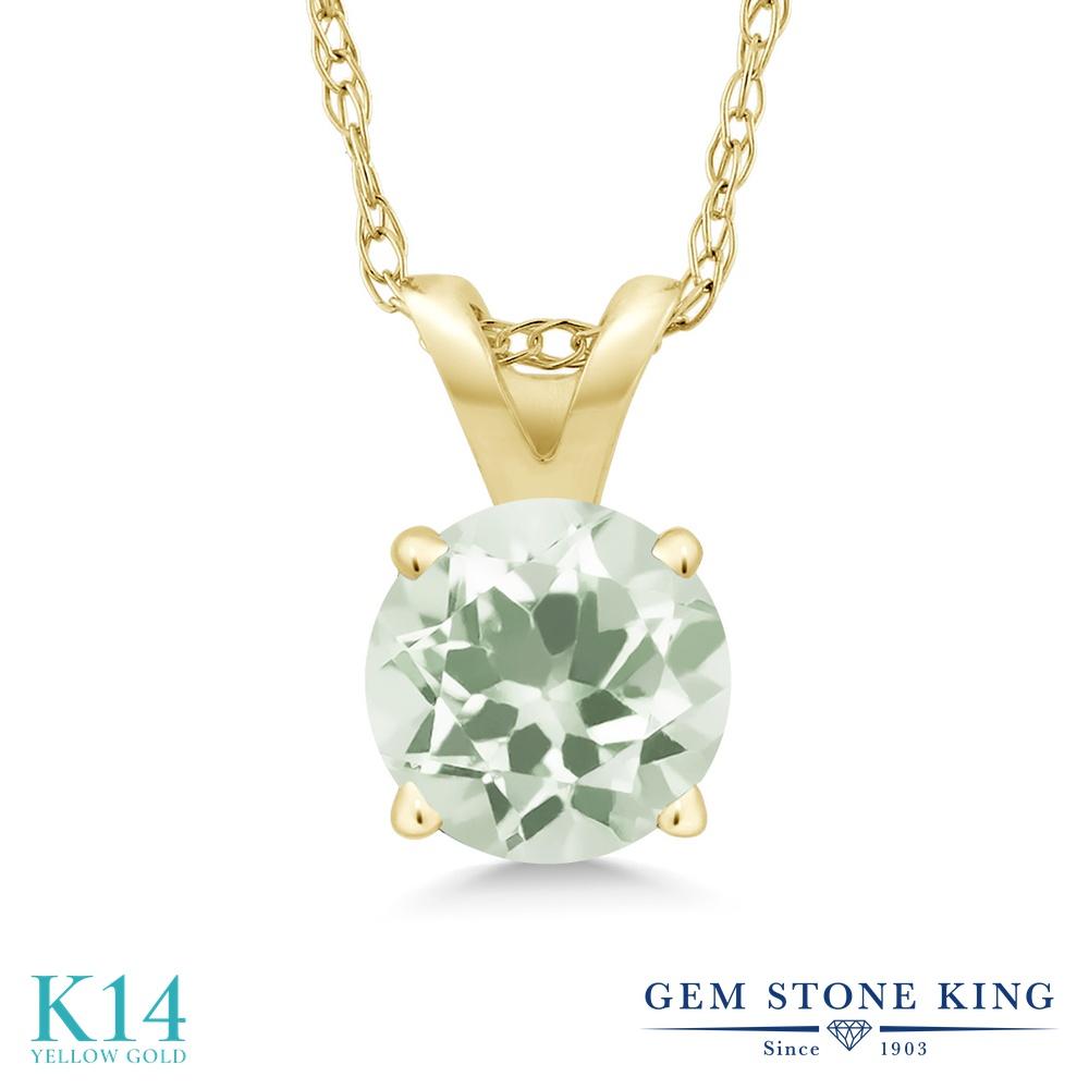 Gem Stone King 0.95カラット 天然 プラジオライト (グリーンアメジスト) 14金 イエローゴールド(K14) ネックレス ペンダント レディース 一粒 シンプル 天然石 金属アレルギー対応 誕生日プレゼント