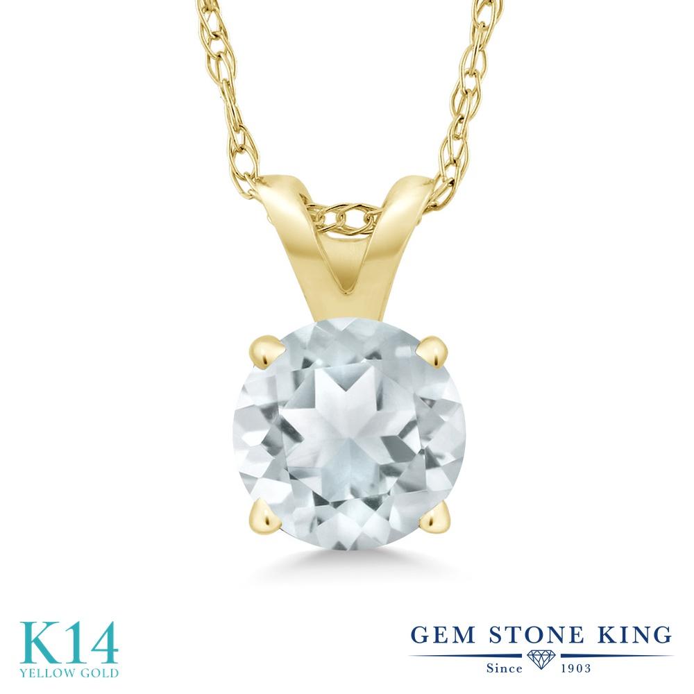 【クーポンで7%OFF】 Gem Stone King 0.75カラット 天然 アクアマリン 14金 イエローゴールド(K14) ネックレス ペンダント レディース 一粒 シンプル 天然石 3月 誕生石 金属アレルギー対応 誕生日プレゼント