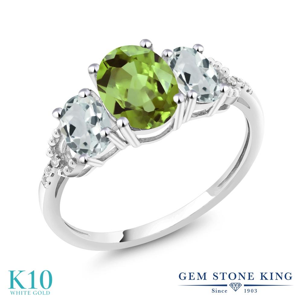 Gem Stone King 2.24カラット 天然石 ペリドット 天然 アクアマリン 天然 ダイヤモンド 10金 ホワイトゴールド(K10) 指輪 リング レディース 大粒 スリーストーン 天然石 8月 誕生石 金属アレルギー対応 誕生日プレゼント