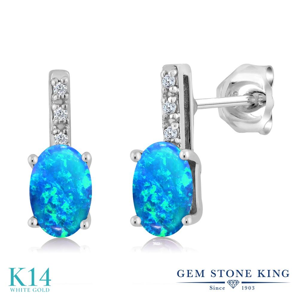 Gem Stone King 1カラット シミュレイテッド ブルーオパール 天然 ダイヤモンド 14金 ホワイトゴールド(K14) ピアス レディース 小粒 スタッド 10月 誕生石 金属アレルギー対応 誕生日プレゼント