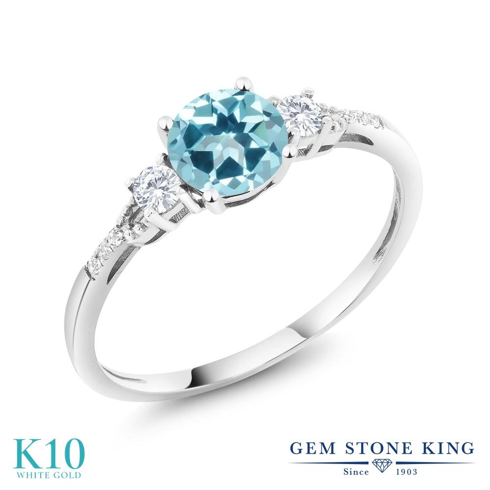 Gem Stone King 1.15カラット 天然石 アイスブルートパーズ (スワロフスキー 天然石シリーズ) 合成ホワイトサファイア 天然 ダイヤモンド 10金 ホワイトゴールド(K10) 指輪 リング レディース 大粒 マルチストーン 天然石 金属アレルギー対応 誕生日プレゼント