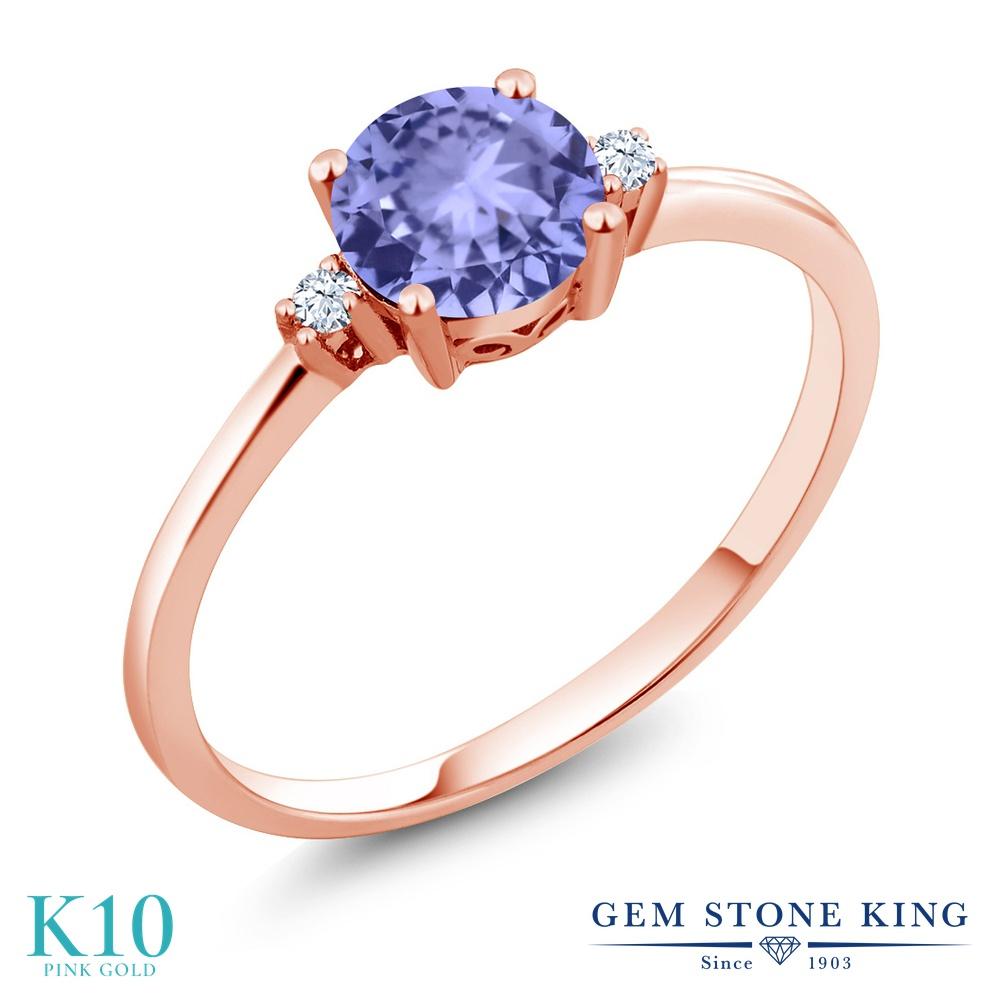 Gem Stone King 0.93カラット 天然石 タンザナイト 合成ホワイトサファイア (ダイヤのような無色透明) 10金 ピンクゴールド(K10) 指輪 リング レディース 一粒 シンプル ソリティア 天然石 12月 誕生石 金属アレルギー対応 婚約指輪 エンゲージリング