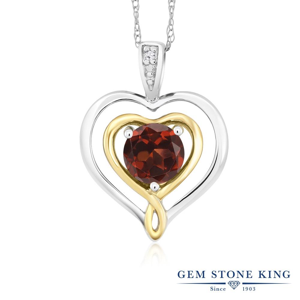 Gem Stone King 0.55カラット 天然 ガーネット 天然 ダイヤモンド 10金 Two Toneゴールド(K10) ネックレス ペンダント レディース ダブルハート シンプル 天然石 1月 誕生石 金属アレルギー対応 誕生日プレゼント
