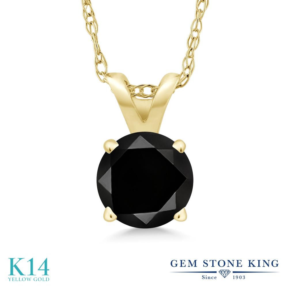 1.05カラット ブラックダイヤモンド ネックレス レディース 14金 イエローゴールド K14 ペンダント ブラック ダイヤ 大粒 一粒 シンプル 天然石 4月 誕生石 プレゼント 女性 彼女 妻 誕生日