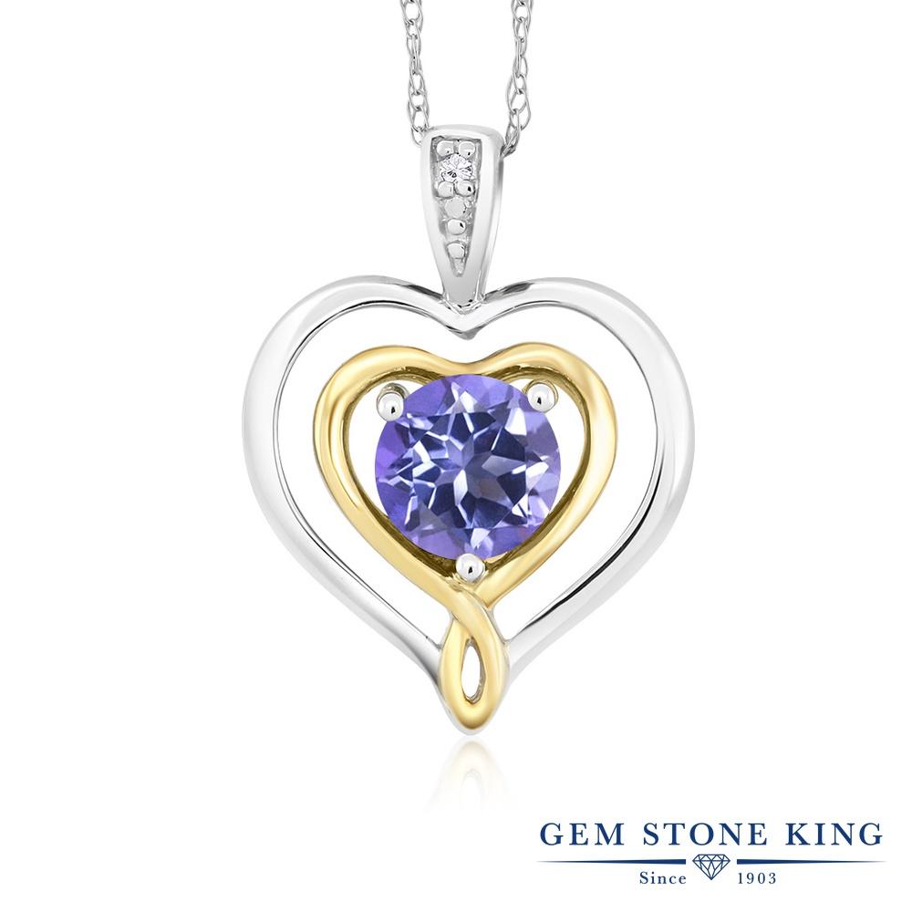 Gem Stone King 0.65カラット 天然 ミスティックトパーズ (タンザナイトブルー) 天然 ダイヤモンド 10金 Two Toneゴールド(K10) ネックレス ペンダント レディース ダブルハート シンプル 天然石 金属アレルギー対応 誕生日プレゼント
