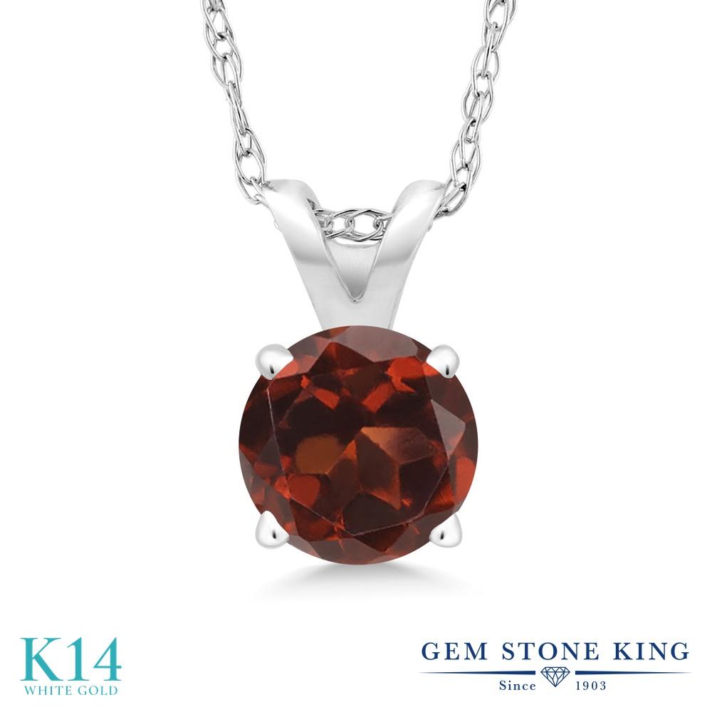 Gem Stone King 1カラット 天然 ガーネット 14金 ホワイトゴールド(K14) ネックレス ペンダント レディース 大粒 一粒 シンプル 天然石 1月 誕生石 金属アレルギー対応 誕生日プレゼント