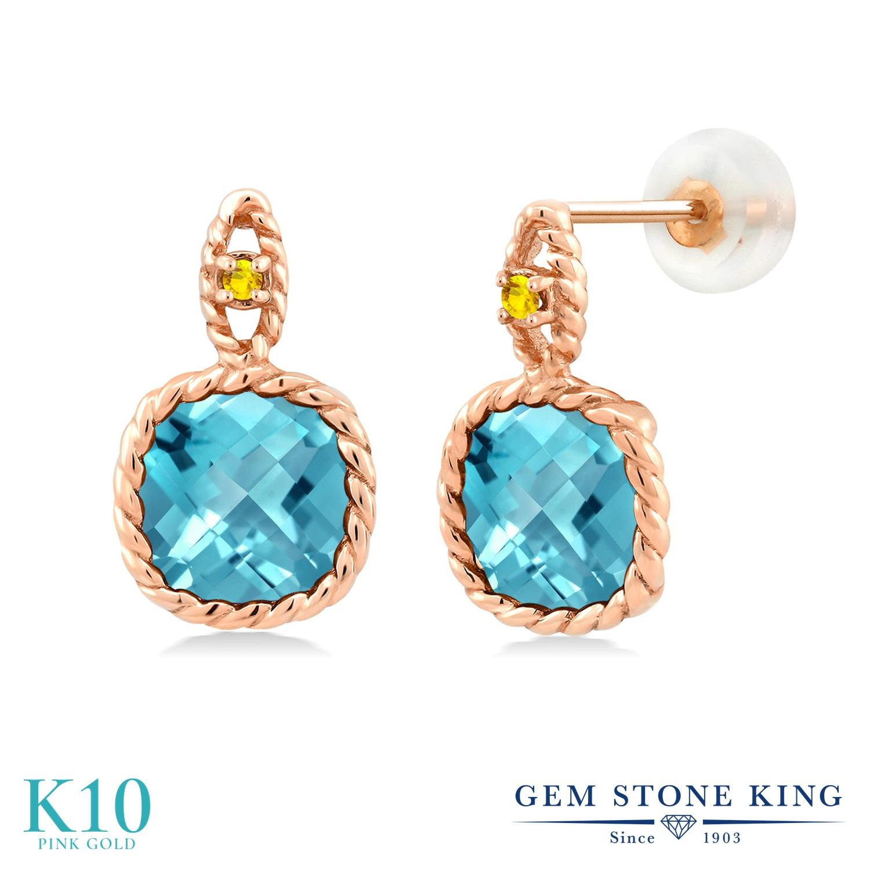 Gem Stone King 5.56カラット 天然 スイスブルートパーズ イエローサファイア 10金 ピンクゴールド(K10) ピアス レディース 大粒 ぶら下がり 天然石 11月 誕生石 金属アレルギー対応 誕生日プレゼント