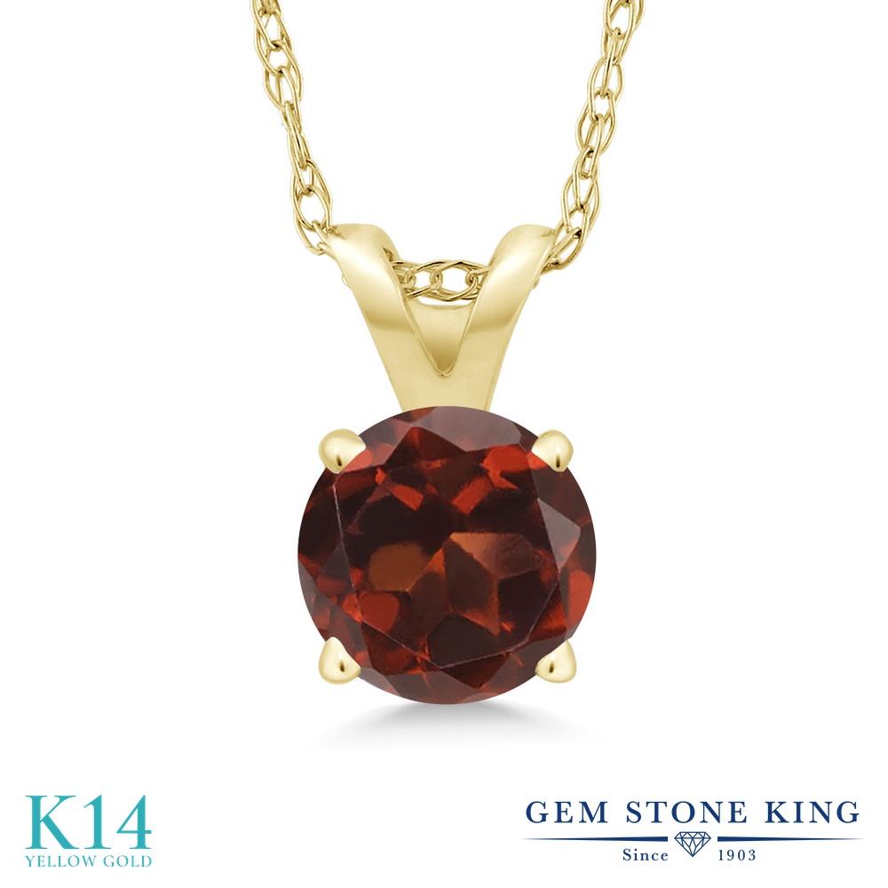 Gem Stone King 1カラット 天然 ガーネット 14金 イエローゴールド(K14) ネックレス ペンダント レディース 大粒 一粒 シンプル 天然石 1月 誕生石 金属アレルギー対応 誕生日プレゼント