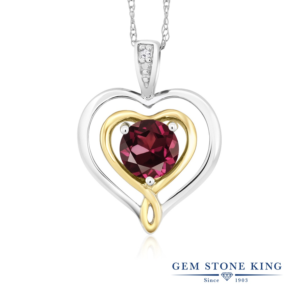 Gem Stone King 0.6カラット 天然 ロードライトガーネット 天然 ダイヤモンド 10金 Two Toneゴールド(K10) ネックレス ペンダント レディース ダブルハート シンプル 天然石 金属アレルギー対応 誕生日プレゼント