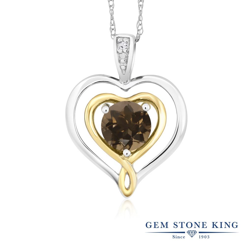Gem Stone King 0.46カラット 天然 スモーキークォーツ (ブラウン) 天然 ダイヤモンド 10金 Two Toneゴールド(K10) ネックレス ペンダント レディース 小粒 ダブルハート シンプル 天然石 金属アレルギー対応 誕生日プレゼント
