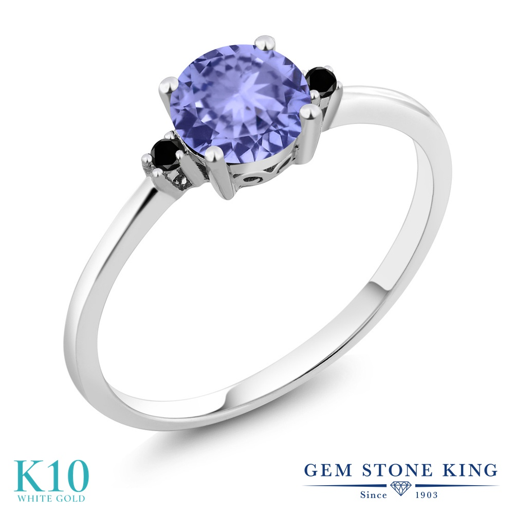 Gem Stone King 0.93カラット 天然石 タンザナイト 天然ブラックダイヤモンド 10金 ホワイトゴールド(K10) 指輪 リング レディース 一粒 シンプル ソリティア 天然石 12月 誕生石 金属アレルギー対応 婚約指輪 エンゲージリング