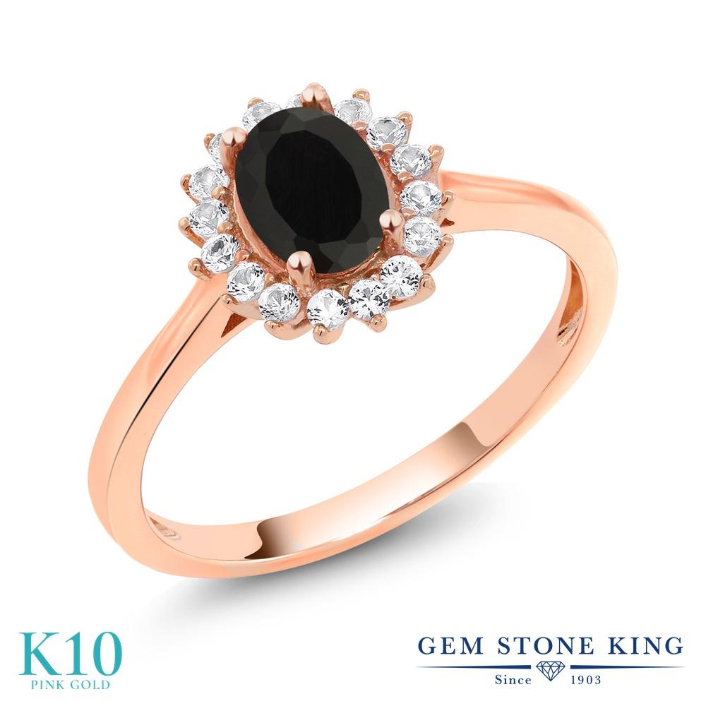 Gem Stone King 1.04カラット 天然 オニキス 合成ホワイトサファイア (ダイヤのような無色透明) 10金 ピンクゴールド(K10) 指輪 リング レディース クラスター 天然石 8月 誕生石 金属アレルギー対応 誕生日プレゼント
