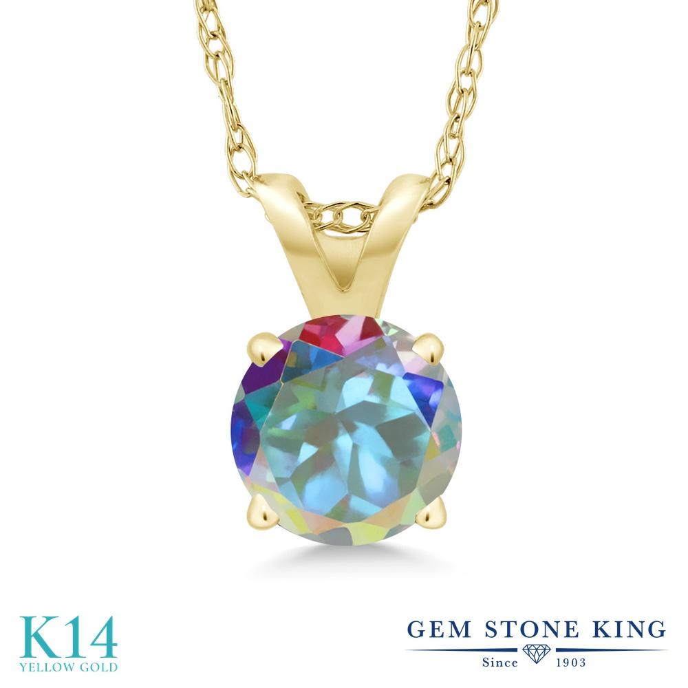Gem Stone King 1カラット 天然石 ミスティックトパーズ (マーキュリーミスト) 14金 イエローゴールド(K14) ネックレス ペンダント レディース 大粒 一粒 シンプル 天然石 金属アレルギー対応 誕生日プレゼント