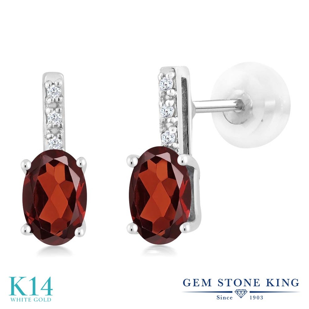 Gem Stone King 1.03カラット 天然 ガーネット 天然 ダイヤモンド 14金 ホワイトゴールド(K14) ピアス レディース 小粒 スタッド 天然石 1月 誕生石 金属アレルギー対応 誕生日プレゼント