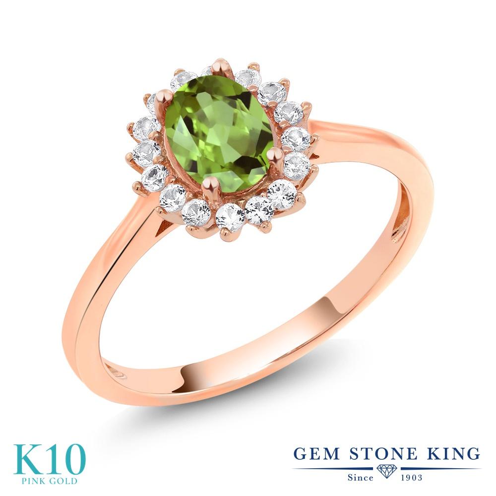 【10%OFF】 Gem Stone King 1.04カラット 天然石 ペリドット 合成ホワイトサファイア (ダイヤのような無色透明) 指輪 リング レディース 10金 ピンクゴールド K10 クラスター 8月 誕生石 クリスマスプレゼント 女性 彼女 妻 誕生日