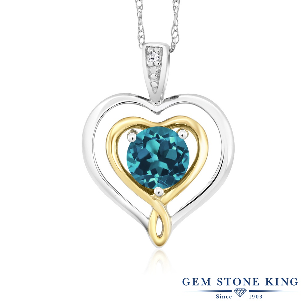 Gem Stone King 0.5カラット 天然 ロンドンブルートパーズ 天然 ダイヤモンド 10金 Two Toneゴールド(K10) ネックレス ペンダント レディース 小粒 シンプル 天然石 11月 誕生石 金属アレルギー対応 誕生日プレゼント