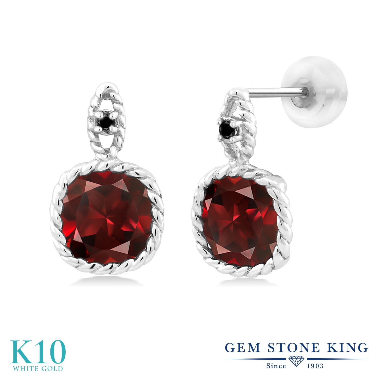 Gem Stone King 5.51カラット 天然 ガーネット 天然ブラックダイヤモンド 10金 ホワイトゴールド(K10) ピアス レディース 大粒 ぶら下がり 天然石 1月 誕生石 金属アレルギー対応 誕生日プレゼント