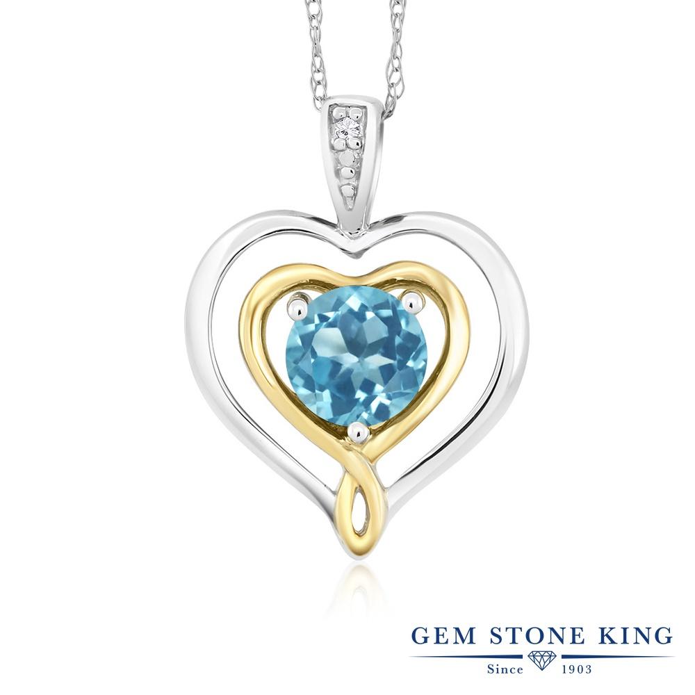 Gem Stone King 0.55カラット 天然 スイスブルートパーズ 天然 ダイヤモンド 10金 Two Toneゴールド(K10) ネックレス ペンダント レディース シンプル 天然石 11月 誕生石 金属アレルギー対応 誕生日プレゼント