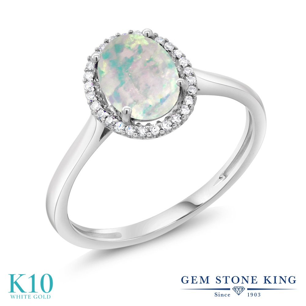 Gem Stone King 1.05カラット シミュレイテッドホワイトオパール 10金 ホワイトゴールド(K10) 天然ダイヤモンド 指輪 リング レディース 大粒 誕生石 誕生日プレゼント