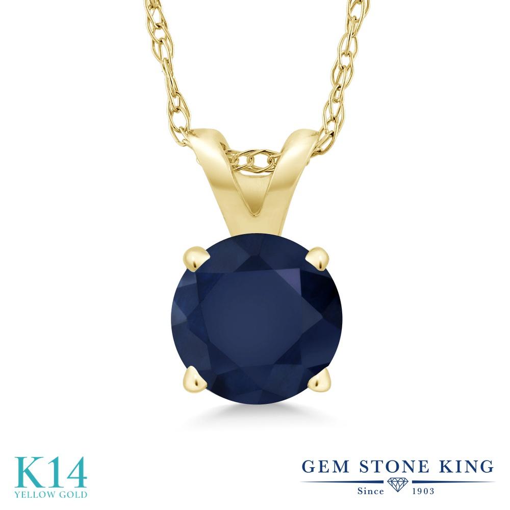Gem Stone King 1カラット 天然 サファイア 14金 イエローゴールド(K14) ネックレス ペンダント レディース 大粒 一粒 シンプル 天然石 9月 誕生石 金属アレルギー対応 誕生日プレゼント