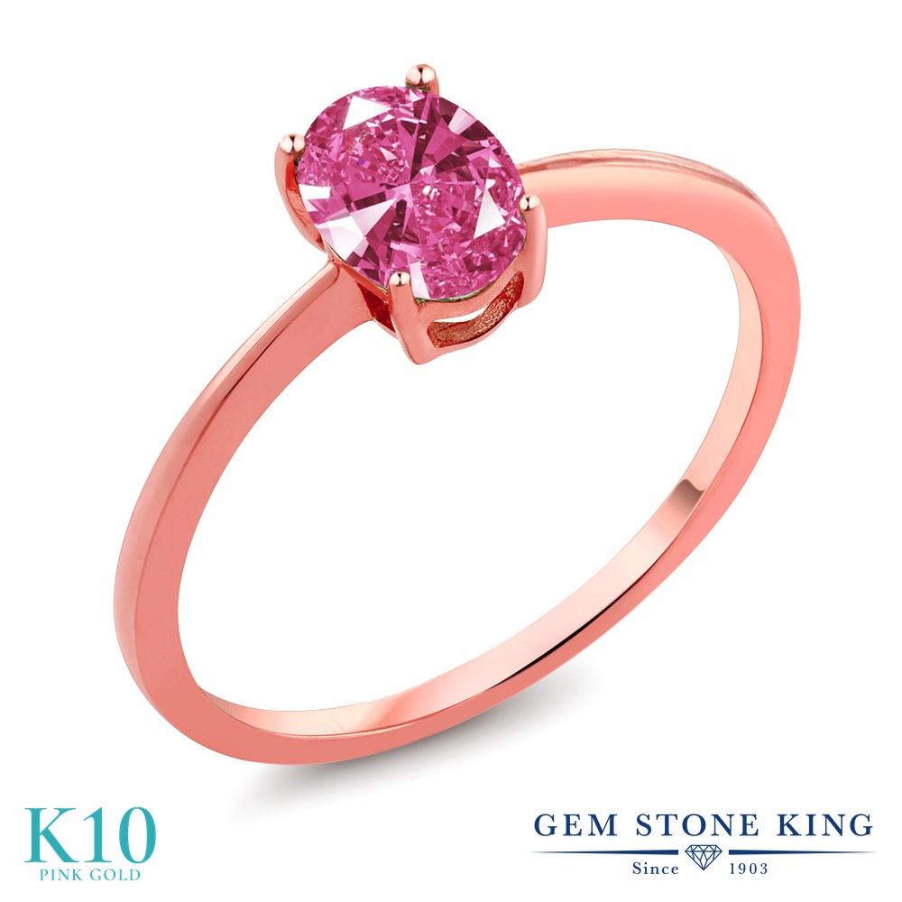 Gem Stone King スワロフスキージルコニア (ピンク) 10金 ピンクゴールド(K10) 指輪 リング レディース CZ 一粒 シンプル ソリティア 金属アレルギー対応 誕生日プレゼント