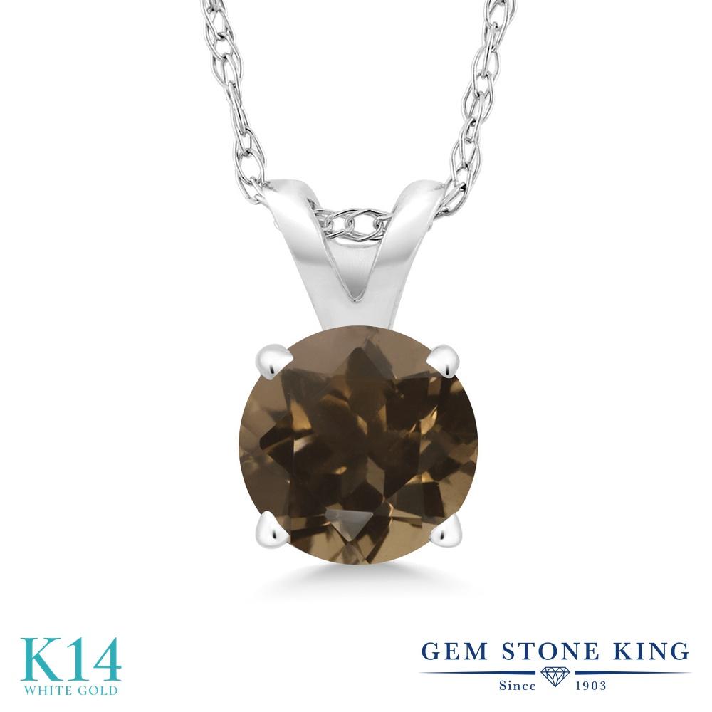 Gem Stone King 0.8カラット 天然 スモーキークォーツ (ブラウン) 14金 ホワイトゴールド(K14) ネックレス ペンダント レディース 一粒 シンプル 天然石 金属アレルギー対応 誕生日プレゼント