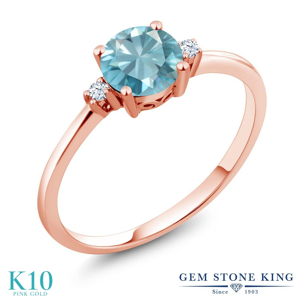 Gem Stone King 1.23カラット 天然石 ブルージルコン 合成ホワイトサファイア (ダイヤのような無色透明) 10金 ピンクゴールド(K10) 指輪 リング レディース 大粒 シンプル ソリティア 天然石 12月 誕生石 金属アレルギー対応 誕生日プレゼント