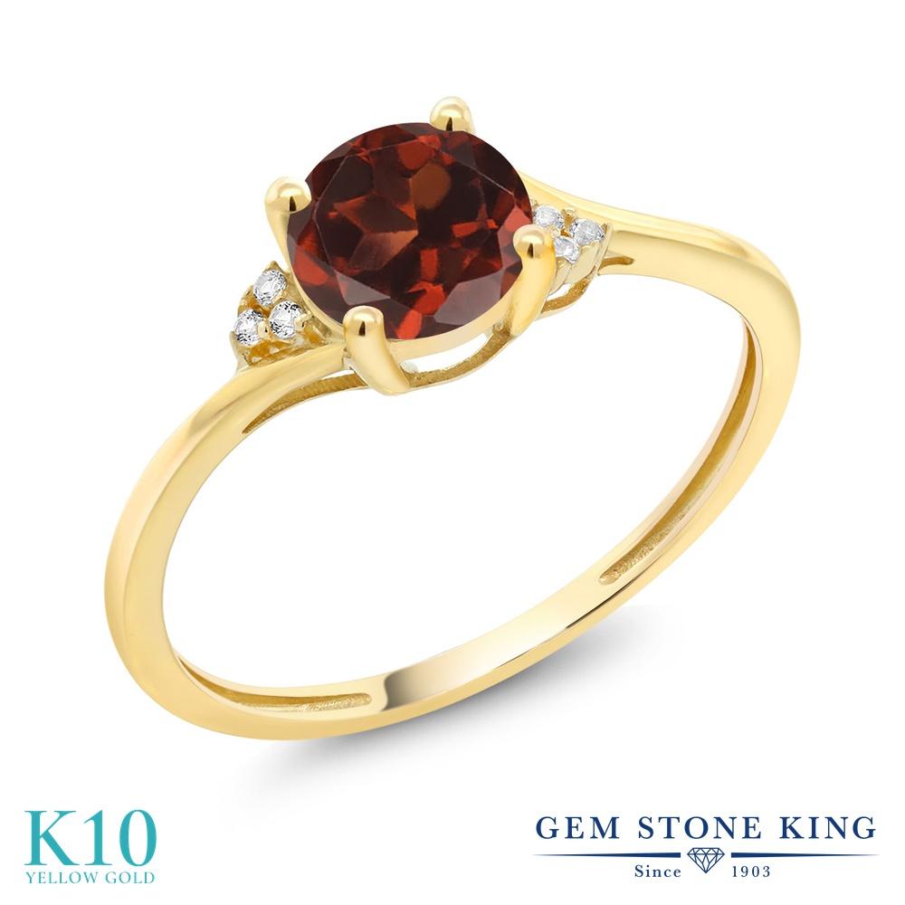 1 05カラット 天然 ガーネット 指輪 レディース リング ダイヤモンド 10金 イエローゴールド K10 ブランド おしゃれ 赤 大粒 ソリティア 天然石 1月 誕生石 金属アレルギー対応EHWD2I9