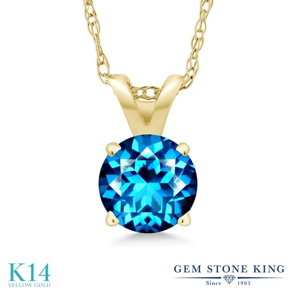 Gem Stone King 1カラット 天然石 カシミアブルートパーズ (スワロフスキー 天然石シリーズ) 14金 イエローゴールド(K14) ネックレス ペンダント レディース 大粒 一粒 シンプル 天然石 金属アレルギー対応 誕生日プレゼント