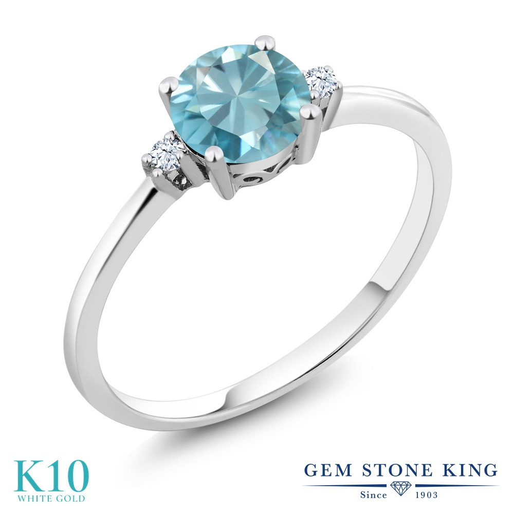 Gem Stone King 1.23カラット 天然石 ブルージルコン 合成ホワイトサファイア (ダイヤのような無色透明) 10金 ホワイトゴールド(K10) 指輪 リング レディース 大粒 シンプル ソリティア 天然石 12月 誕生石 金属アレルギー対応 誕生日プレゼント