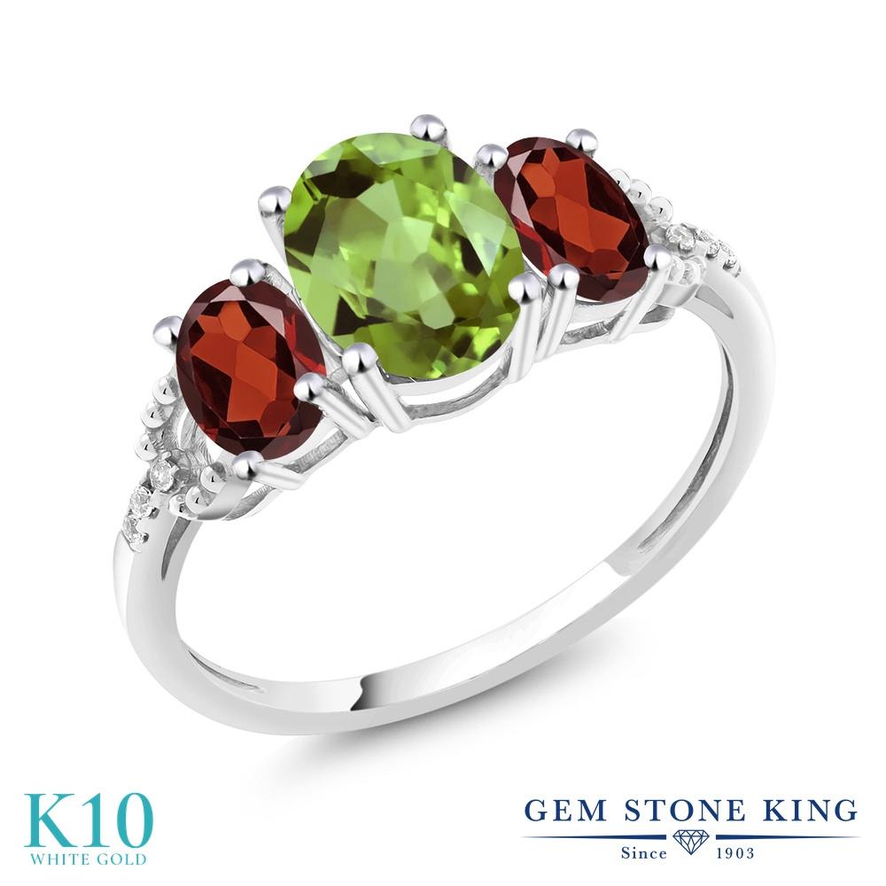 Gem Stone King 2.38カラット 天然石 ペリドット 天然 ガーネット 天然 ダイヤモンド 10金 ホワイトゴールド(K10) 指輪 リング レディース 大粒 スリーストーン 天然石 8月 誕生石 金属アレルギー対応 誕生日プレゼント