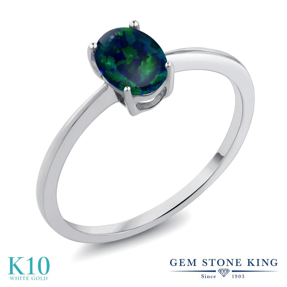 Gem Stone King 0.63カラット シミュレイテッド グリーンオパール 10金 ホワイトゴールド(K10) 指輪 リング レディース 一粒 シンプル ソリティア 10月 誕生石 金属アレルギー対応 婚約指輪 エンゲージリング