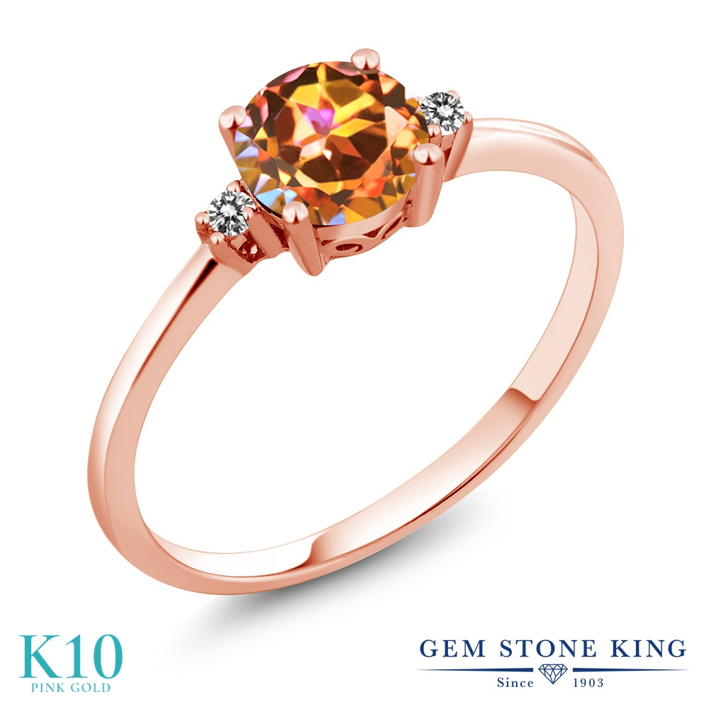 Gem Stone King 1.03カラット 天然石 エクスタシーミスティックトパーズ 天然 ダイヤモンド 10金 ピンクゴールド(K10) 指輪 リング レディース 大粒 一粒 シンプル ソリティア 天然石 金属アレルギー対応 婚約指輪 エンゲージリング