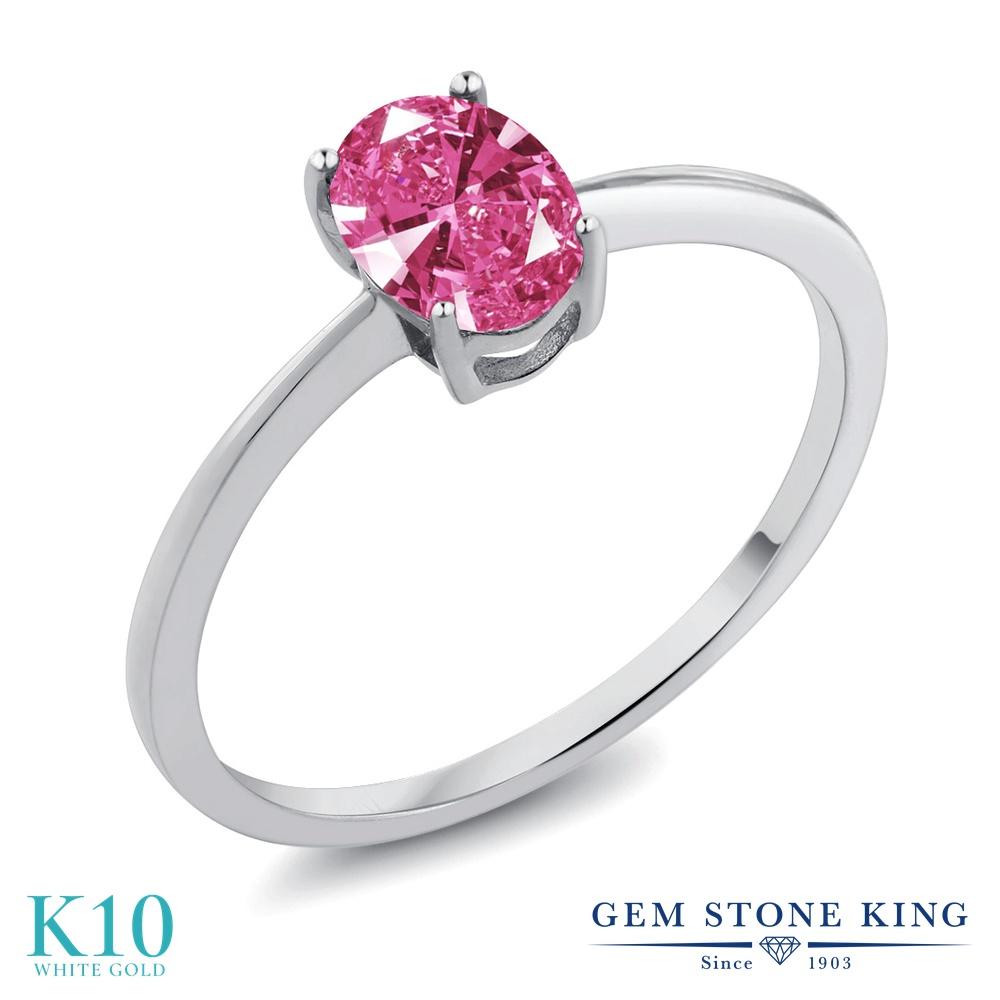 スワロフスキージルコニア (ピンク) 指輪 レディース リング 10金 ホワイトゴールド K10 ブランド おしゃれ 一粒 CZ シンプル 細身 ソリティア プレゼント 女性 彼女 妻 誕生日