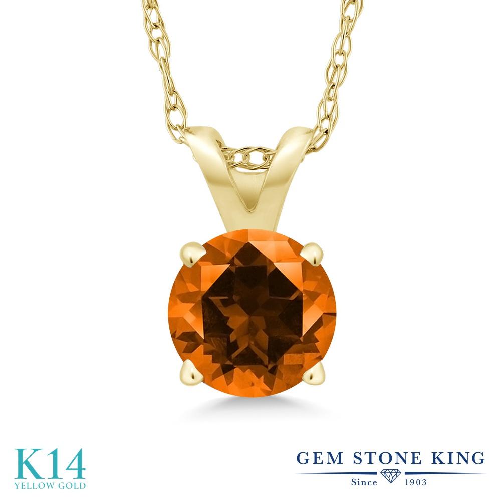 Gem Stone King 1カラット 天然石 トパーズ ポピー (スワロフスキー 天然石シリーズ) 14金 イエローゴールド(K14) ネックレス ペンダント レディース 大粒 一粒 シンプル 天然石 金属アレルギー対応 誕生日プレゼント