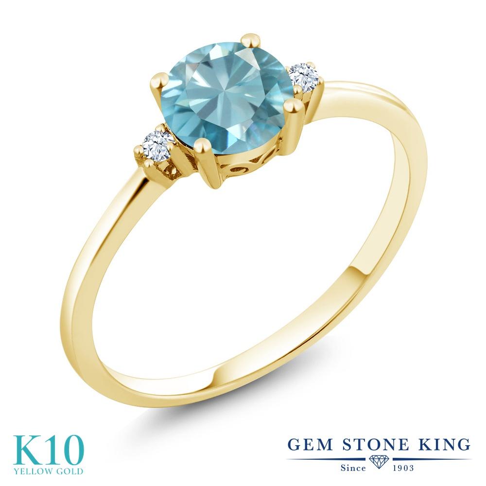Gem Stone King 1.23カラット 天然石 ブルージルコン 合成ホワイトサファイア (ダイヤのような無色透明) 10金 イエローゴールド(K10) 指輪 リング レディース 大粒 シンプル ソリティア 天然石 12月 誕生石 金属アレルギー対応 誕生日プレゼント