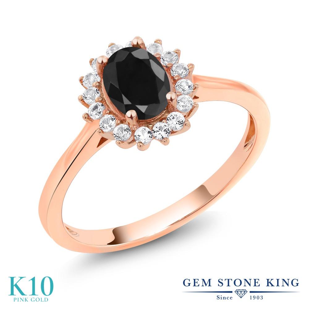 【10%OFF】 Gem Stone King 1.31カラット 天然 ブラックサファイア 合成ホワイトサファイア (ダイヤのような無色透明) 指輪 リング レディース 10金 ピンクゴールド K10 大粒 クラスター 天然石 9月 誕生石 クリスマスプレゼント 女性 彼女 妻 誕生日